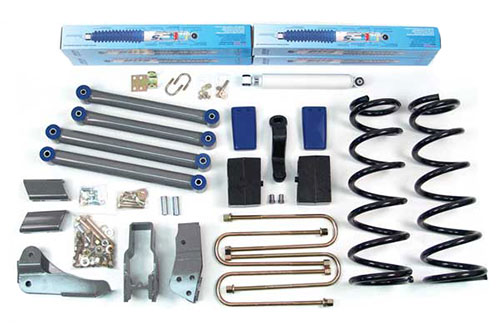 "6"" Front Standard kit shown with rear 4"" block kit; Shocks shown may differ from base kit."