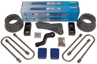 "3"" Front Spacer kit shown with rear 2"" block kit; Shocks shown may differ from base kit."