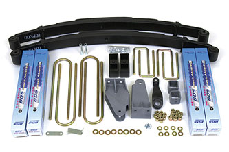 "4"" Complete System Shown with rear block kit; Shocks shown may differ from base kit."