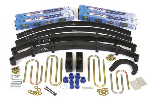 "6"" Complete Suspension System with Rear Block and Add-A-Leaf Kit; Shocks shown may differ from base kit."