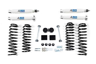"2"" Coil Spring Lift Jeep Wrangler JK - 4-Door; Shocks shown may differ from base kit."
