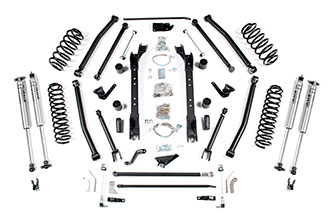 "6-1/2"" 4WD Jeep Wrangler TJ -Long Arm; Shocks shown may differ from base kit."